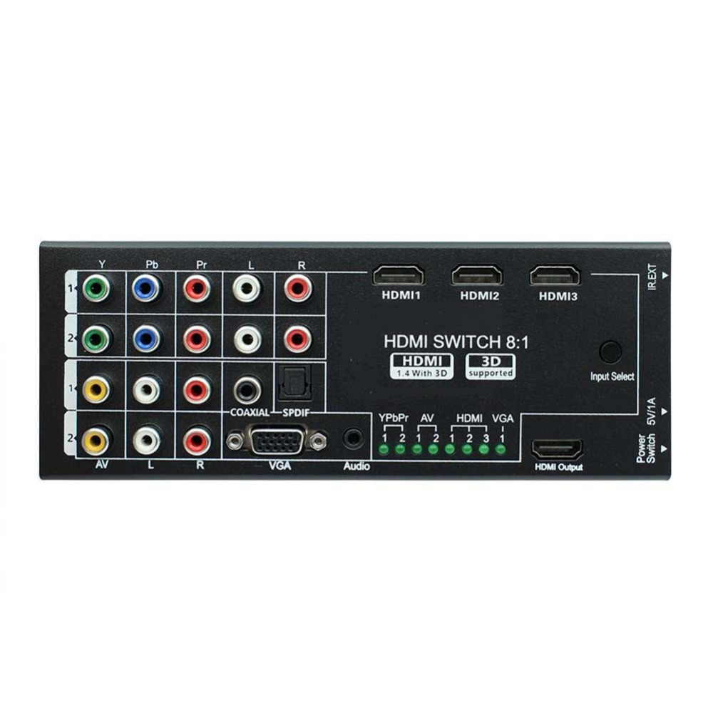 Video Audio AV Switcher 8 Inputs to 1 HDMI Output KVM Switch Multi-Functional HDMI Audio Extractor Optical Coaxial 5.1 3D Remote