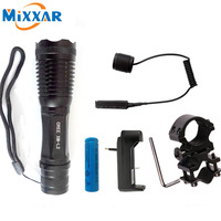 Nzk30 LED tactical led flashlight CREE XM-L2 4500Lm 5 modes zoomable torch for Hunting with Remote Switch and Shot Gun Mount