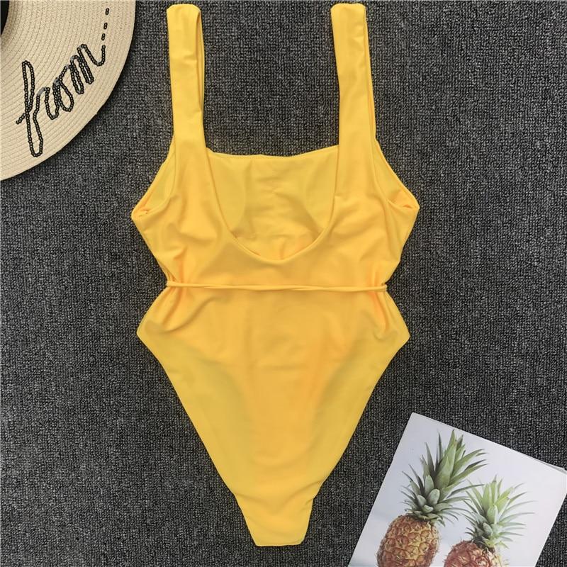 Pure Color Belt One-piece Swimsuit 5