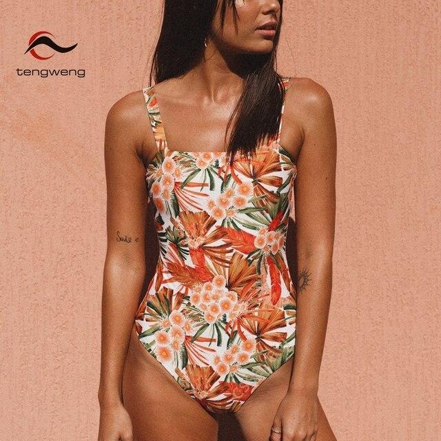 f38f9b25bd6d1 2019 sexy orange floral print bandeau women monokini swimwear padded large  size brazilian thong swimsuit cut out bandage bikinis