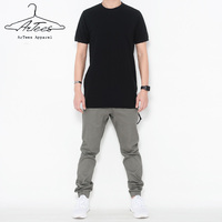 ArTees Apparel Summer Short Sleeve Cotton Solid O Neck Long Section T shirt Style Leisure T shirt Men 2017 Brand New Hip Hop Tee