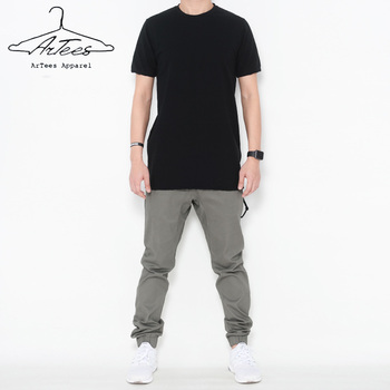 ArTees Apparel Summer Short Sleeve Cotton Solid O-Neck Long Section T-shirt Style Leisure T-shirt Men 2017 Brand New Hip Hop Tee фото