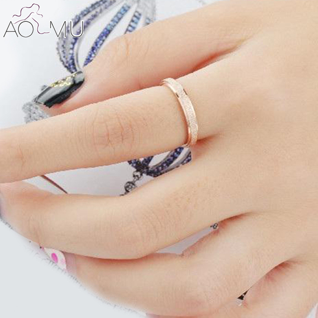 Aomu 1pc 2mm Rose Gold Frosted Anium Steel Wedding Band Ring Jewelry For Men Women Party