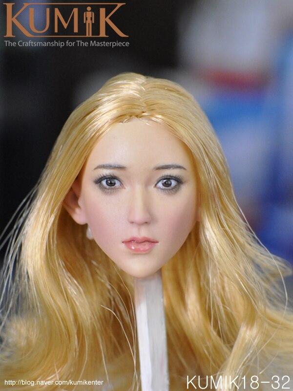KUMIK KM18-32 1/6 Scale head sculpt Blonde girl With Hair for 12inch Phicen Tbleague JIAOUL Doll ToysKUMIK KM18-32 1/6 Scale head sculpt Blonde girl With Hair for 12inch Phicen Tbleague JIAOUL Doll Toys