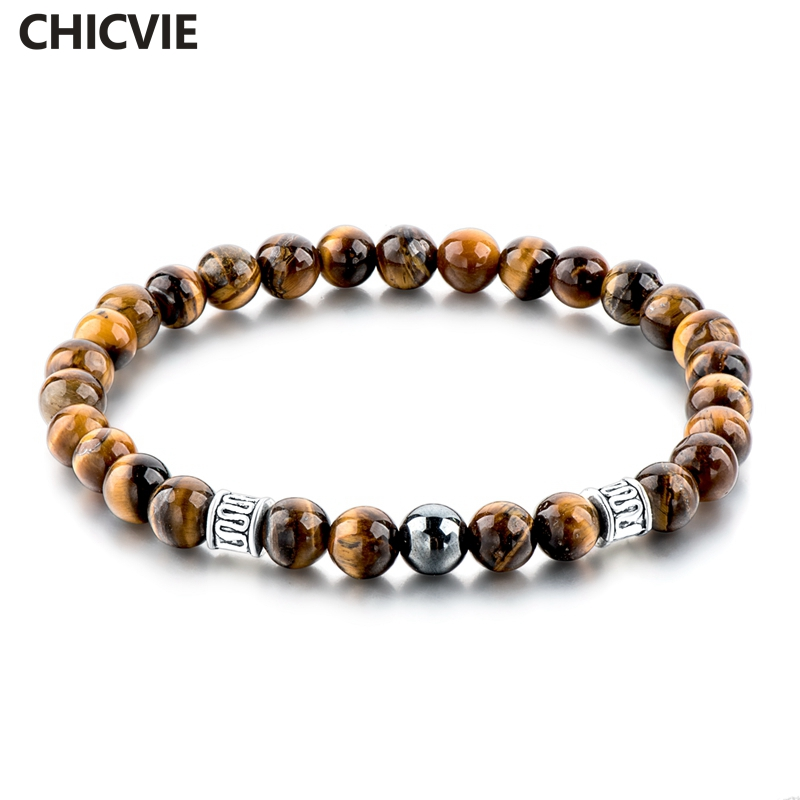 CHICVIE Tiger Eye Natural Beads Men Strand Bracelets & Bangles Silver color Bracelets With Stones Brand Jewelry SBR160124
