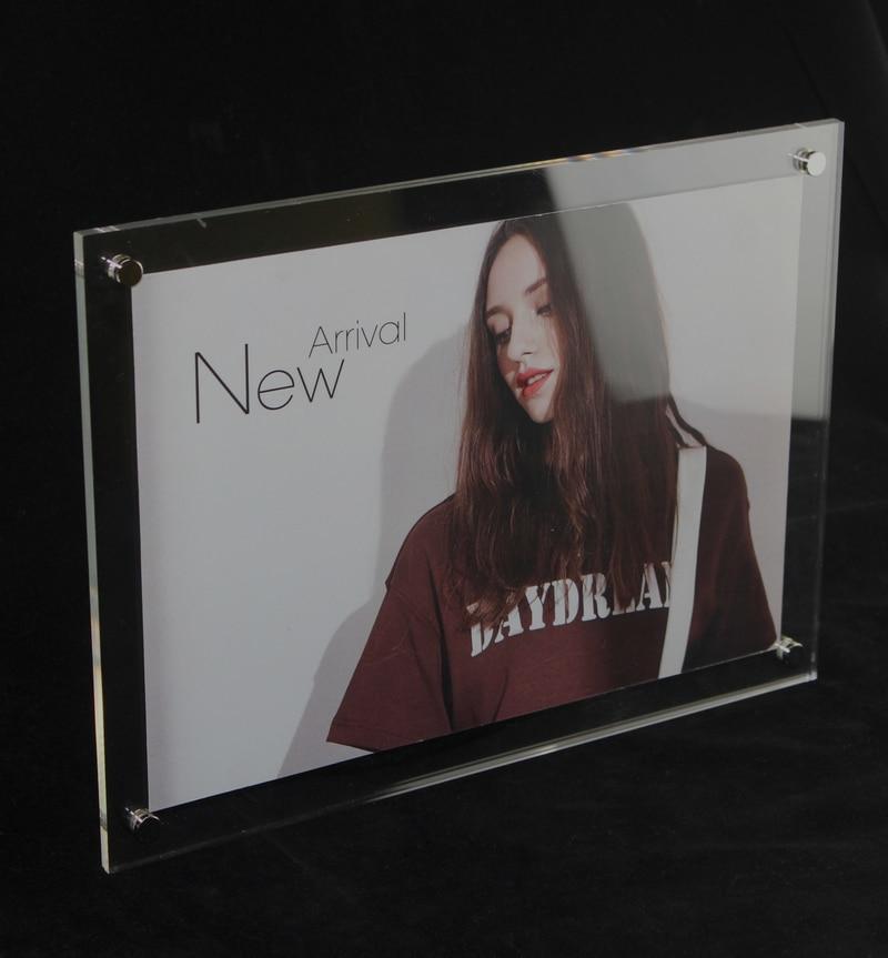 A4 Nástěnný akrylový fotorámeček s rámečkem Plovoucí držák signálního rámu z akrylového rámečku Nástěnný držák vitríny Obrazový rámeček 5ks