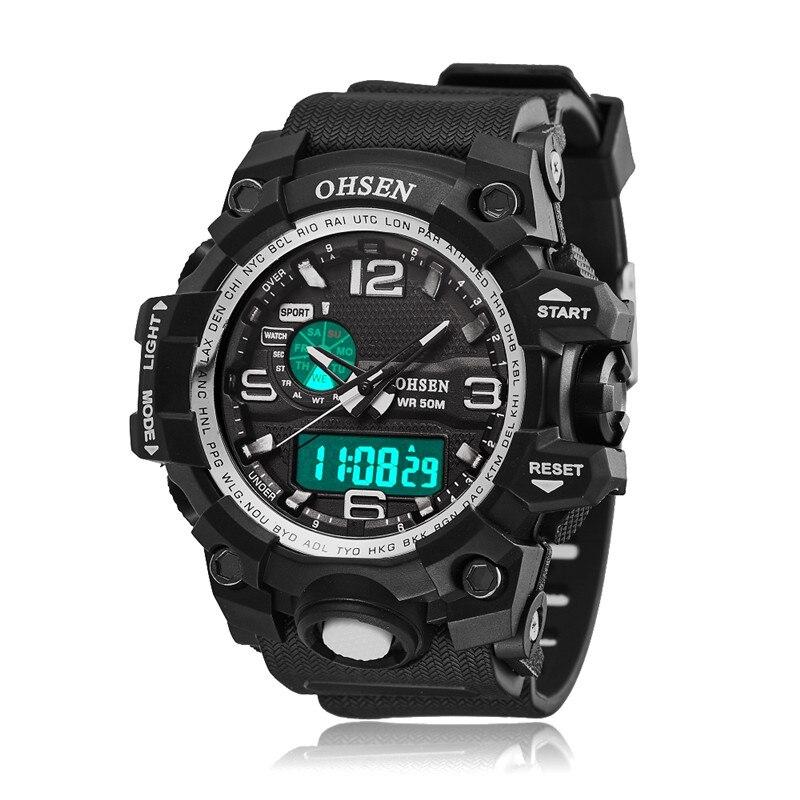 Digital Sport Watch OHSEN Luxury Brand Waterproof relogio masculino Digital Led Man Watches Stopwatch xfcs Military Wristwatches