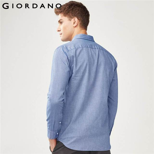 Giordano Men Slim Shirt Long Sleeve Shirts For Men 100% Cotton Interlock Shirt Men Casual Camisa Masculina Chemise Homme 4