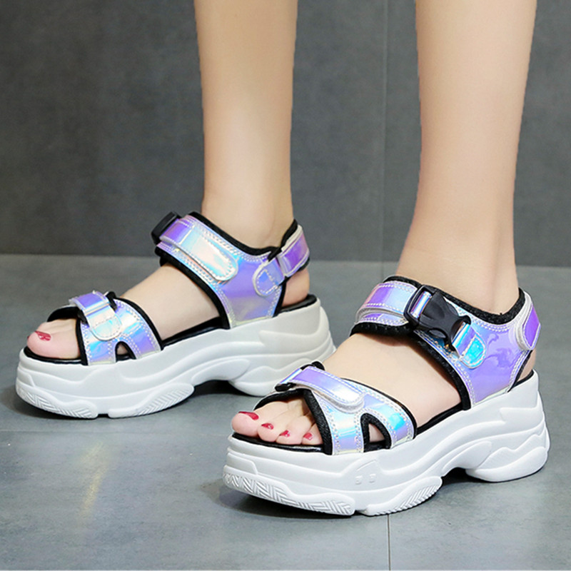 Women Sandals Sexy Open-toed Wedge Hollow Buckle PU Blue Casual Summer Ladies Shoes Bling Chunky Platform Women Beach Shoes A99wWomen Sandals Sexy Open-toed Wedge Hollow Buckle PU Blue Casual Summer Ladies Shoes Bling Chunky Platform Women Beach Shoes A99w