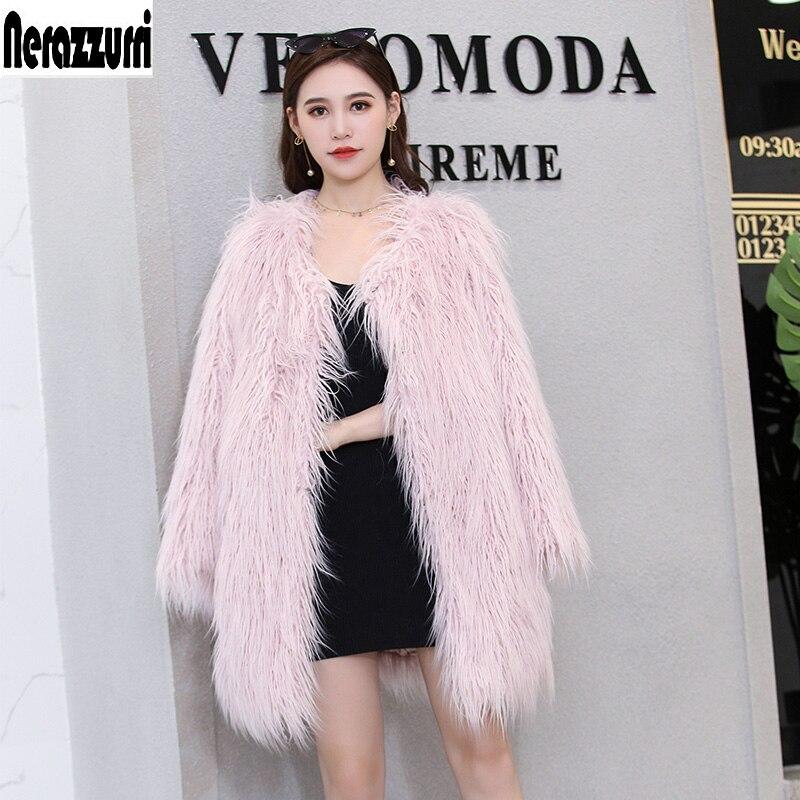 Nerazzurri Inverno rosa cappotto di pelliccia per le donne dai capelli lunghi di grandi dimensioni shaggy pelliccia falso Mongolo giacca di pelliccia più il formato 4xl 5xl 6xl 7xl-in Pelliccia ecologica da Abbigliamento da donna su  Gruppo 1