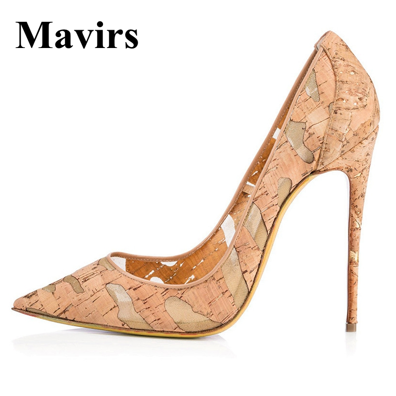 Mavirs Brand Women Shoes 2018 Spring Pointed Toe Wood Grain Sexy 12CM Extreme High Heels Stilettos Wedding Shoes EU Size 35-46 2018 pointed toe high heels wedding shoes for brides brand designer fashion sexy evening high heels women stilettos nysiani