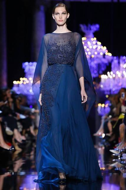 2015 Elie Saab Runway Musilm Evening Dresses Elegant Boat Neck Three Quarter Sleeve Pearls Beaded Navy Blue Long Prom Gown JA777