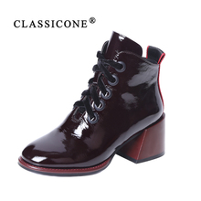 Купить с кэшбэком CLASSICONE 2019 Woman shoes women's ankle boots spring autumn genuine leather suede black pumps brand fashion luxury style sexy