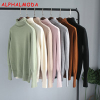 ALPHALMODA Winter New Thickened Turtle Neck Warm Bottom Sweater Long Sleeved Solid Color Loose Soft Basic
