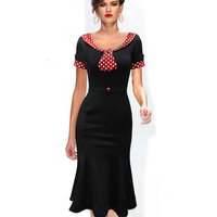Womens Elegant Belted Vintage Retro 50s Polka Dot Red Colorblock Short Sleeve Tunic Mermaid Bodycon Dress B62