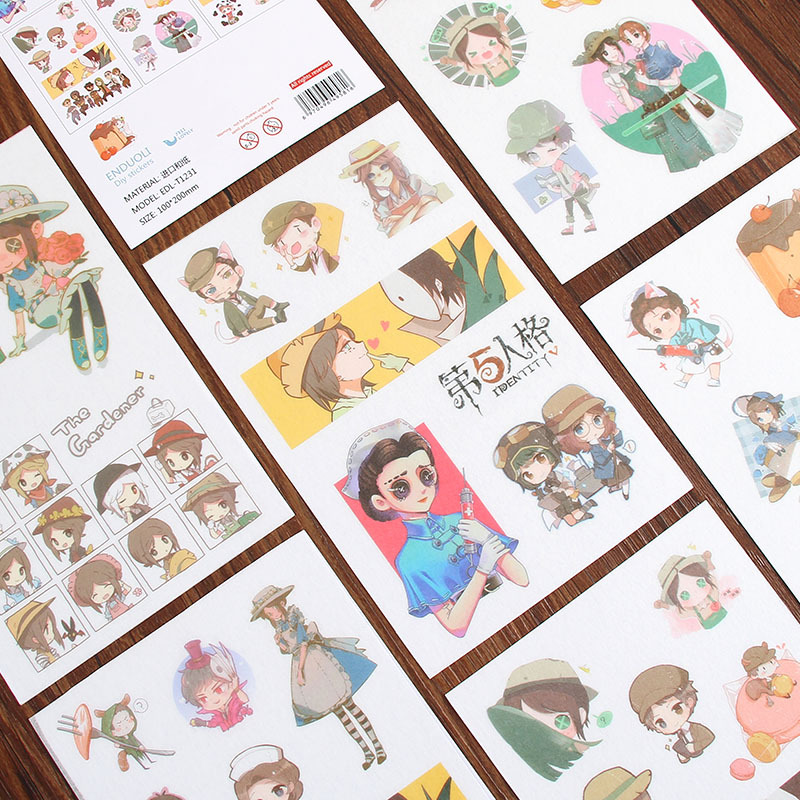 6 Sheets/Pack Identity V Game Characters Washi Sticker Decoration Scrapbooking Stationery Planner Stickers