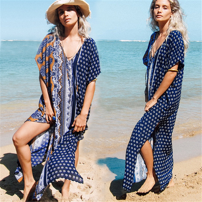 2018 Dress For Beach 2018 Swimming Suit Women Cover Up Long Summer New Cotton Print Girl Acetate Pearl Diary