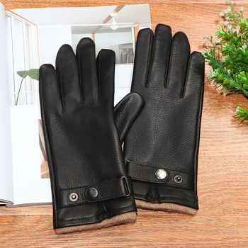 Genuine Leather Gloves Male High Quality Thick Black Deerskin Gloves Classic Fashion Winter Warm Wool Knitted Lined DQ107 2018 fashion female winter warm lined shoe woman thick high heel long boots ladies genuine leather footwear pritivimin fn60