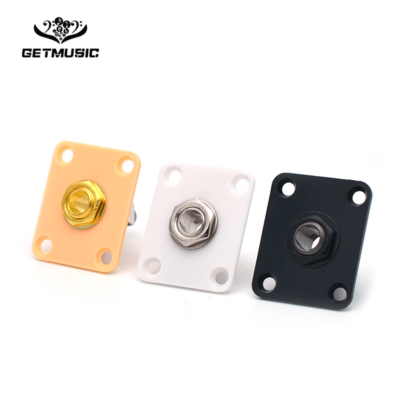 Plastic plate Square Style Jack Plate Guitar Bass Jack 1/4 Output Input Jack for LP SG Tele Electric Guitar Black/White/Yellow image