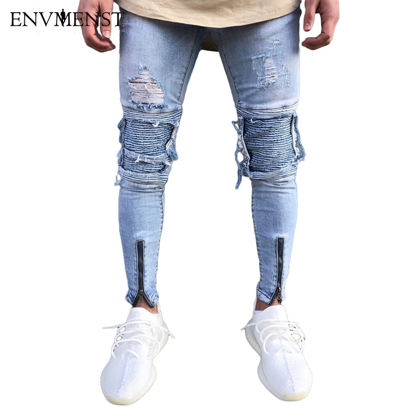 2017 Envmenst Brand Designer Slim Fit Ripped Jeans Men Hi-Street Mens Distressed Denim Joggers Knee Holes Washed Destroyed Jeans fashion brand designer mens torn jeans pants hi street ripped denim joggers gray distressed jean trousers man streetwear lq076