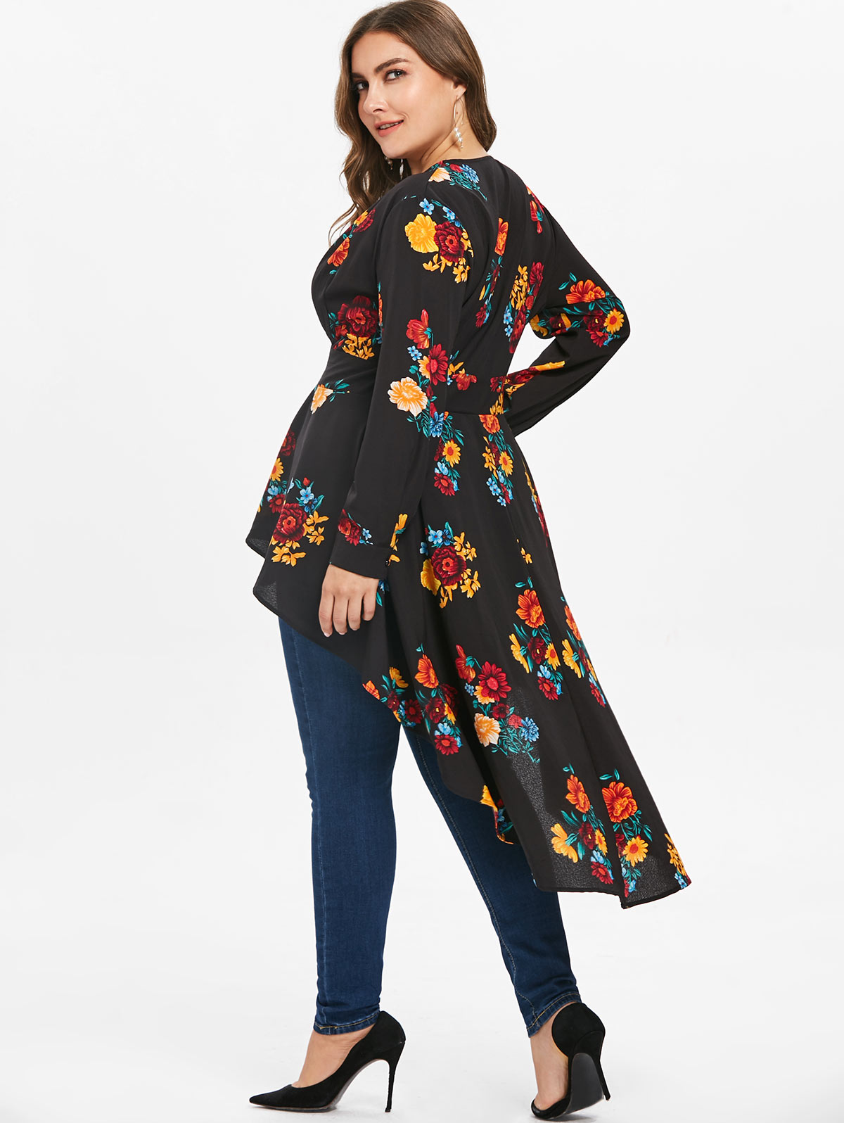 7cef850ce1677 Wipalo Plus Size Plunging Neck High Low Floral Maxi Blouse Autumn Long  Sleeve Asymmetrical Blouse Shirt Women Blusas 5XL Tops-in Blouses   Shirts  from ...
