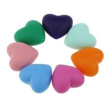 100 pcs/lot Lebensmittel Grade Herz Form Silikon Zähne Perlen DIY bpa frei silikon Beißringe perlen für baby Armbänder babys Kauen