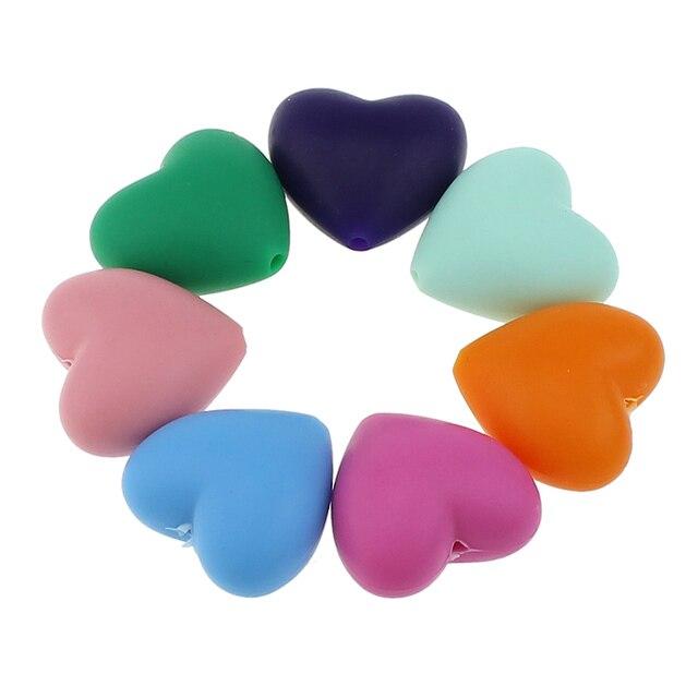 100 pcs/lot perles de dents en Silicone en forme de coeur de qualité alimentaire bricolage perles de dentition en silicone sans bpa pour Bracelets de bébé bébés à mâcher