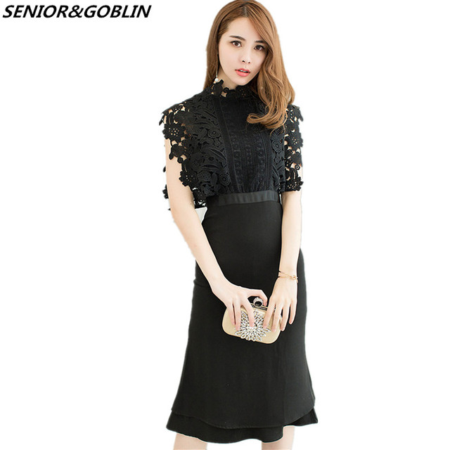 2018 Newest Self Portrait Black Lace Patchwork Hollow Out Sleeveless Summer  Women Bodycon Stand Collar Mermaid Party Midi Dress 99082feafa94