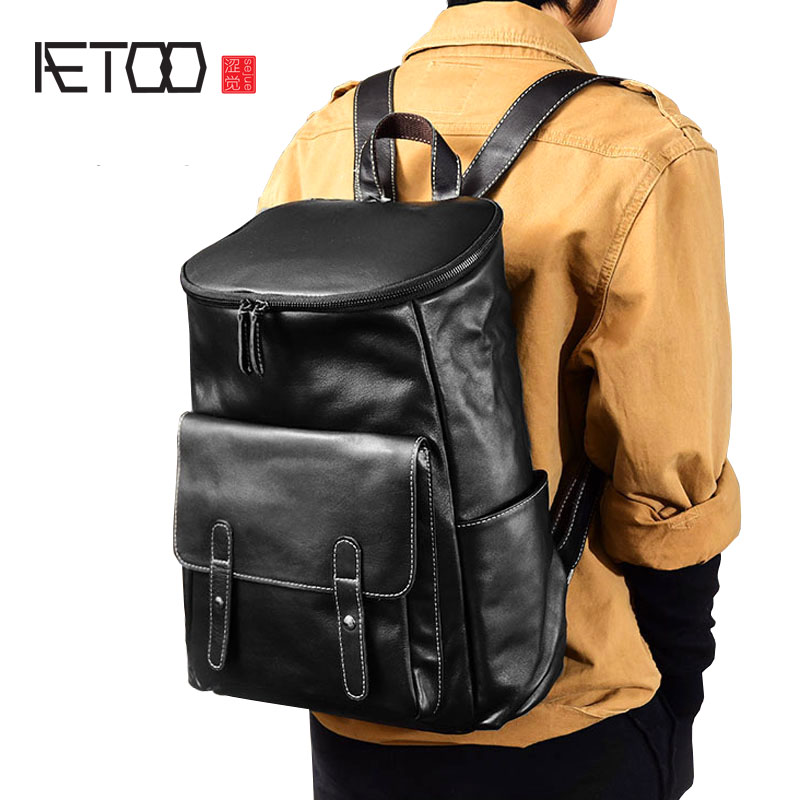 AETOO Soft cowhide British wind original handmade men's first layer of leather backpack leather backpack bag aetoo spring and summer new leather handmade handmade first layer of planted tanned leather retro bag backpack bag