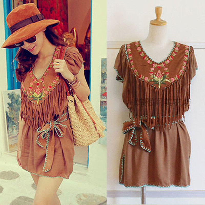 Women summer  tassel embroidered top national trend dress National characteristics