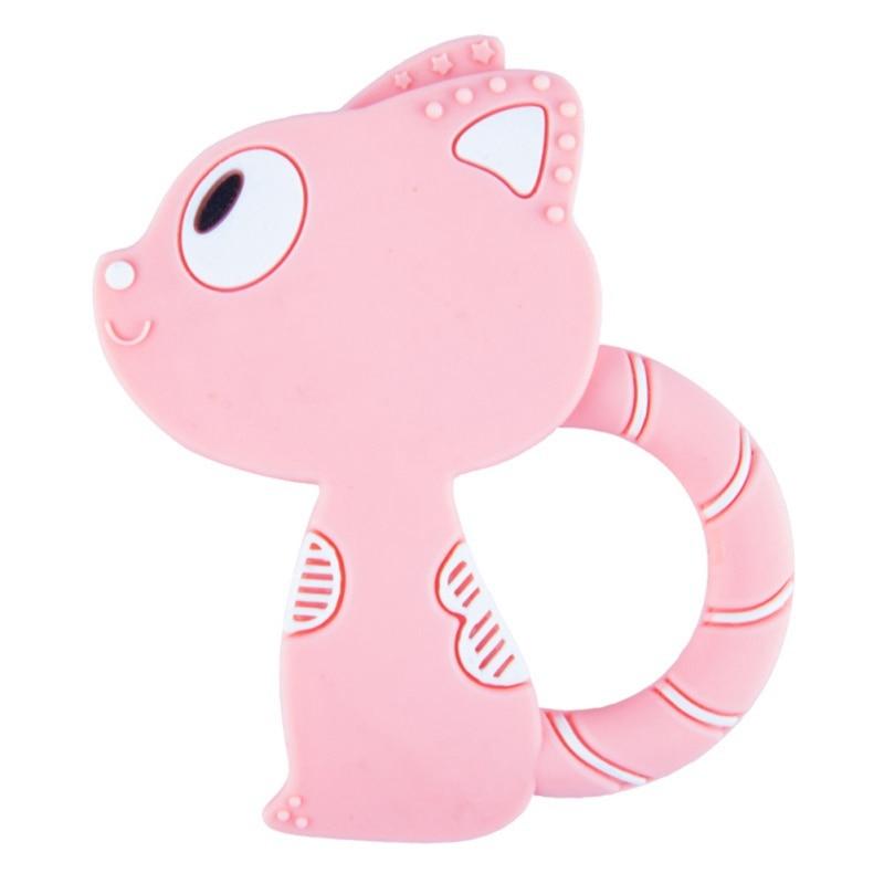 Teething Silicone Cartoon Cat Teethers Baby Ring Teether BPA Free Chew Charms Teeth Toys