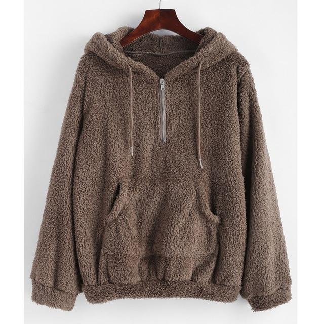 c56a0e38cfd08 Kenancy Women Autumn Winter Warm Hooded Half Zipper Kangaroo Pocket Fluffy  Hoodie Sweatshirts Pullover Casual Faux Fur Hoodies