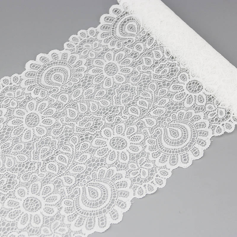 22cm White Elastic Lace Fabric French Hollow Underwear Lace Trim DIY French Hollow Underwear (2 Meters)