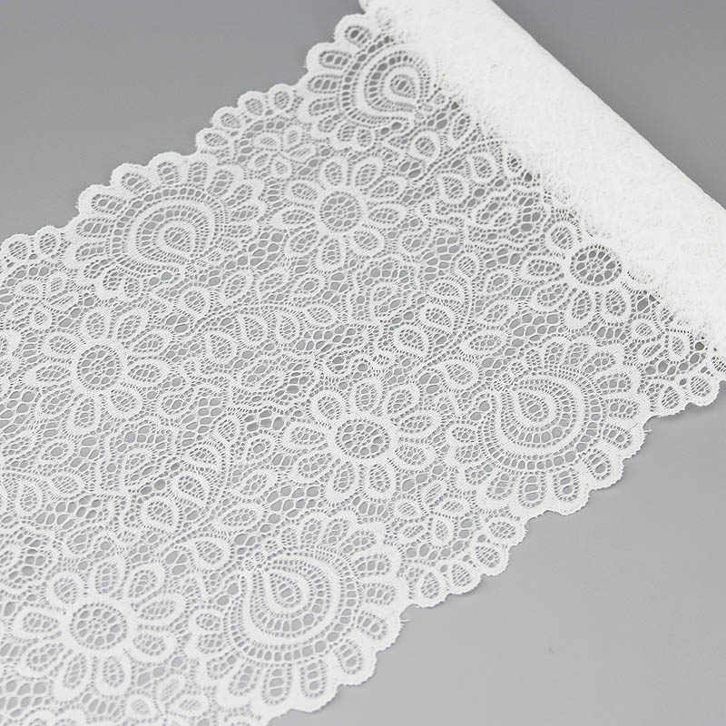 (3 Meter) 22Cm Wit Elastische Kant Stof Franse Hollow Ondergoed Stretch Lace Trim Diy Franse Hollow Ondergoed