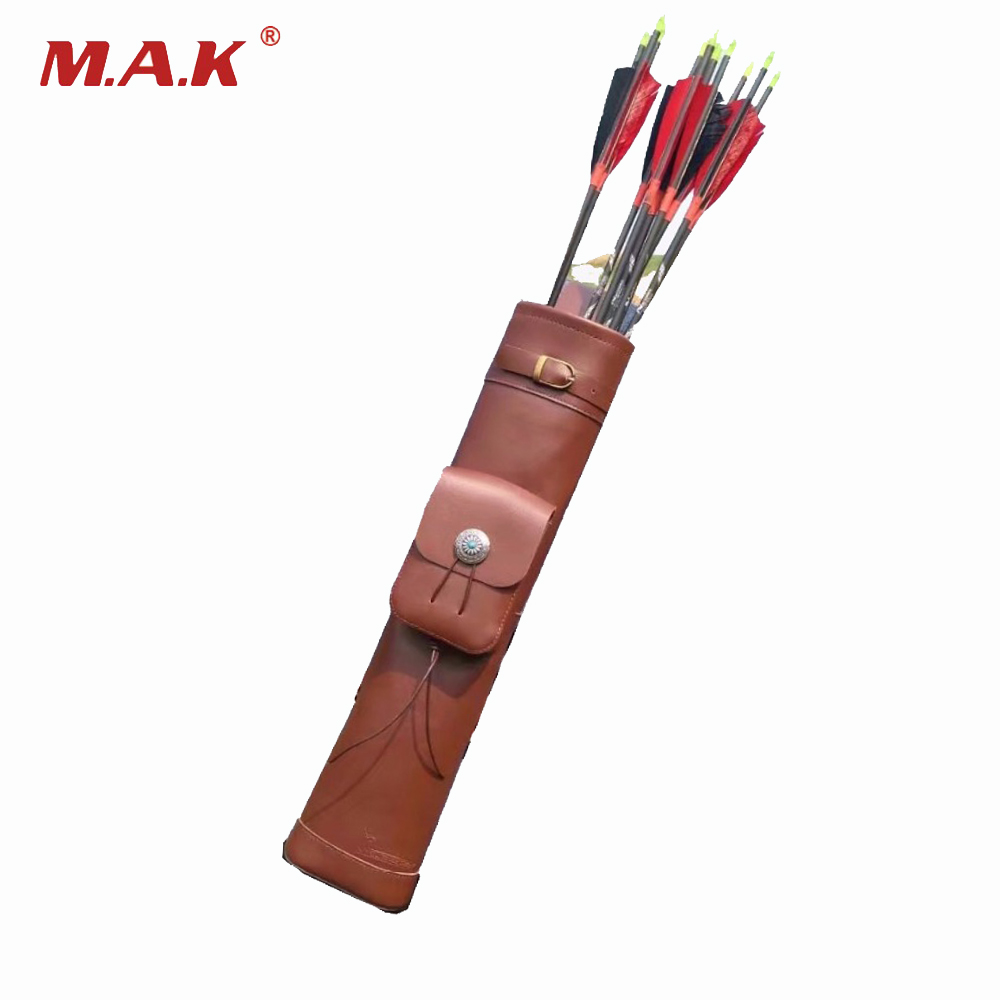 Brown Arrow Bag 53x12 cm Cow Leather 3 Point Single Shoulder Arrow Quiver for Archery Hunting Shooting