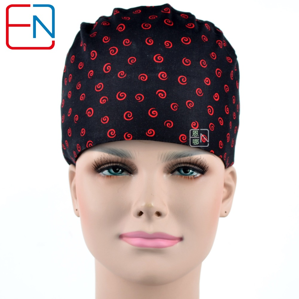 Medical Caps For Women Black With Red Clouds With Sweatband