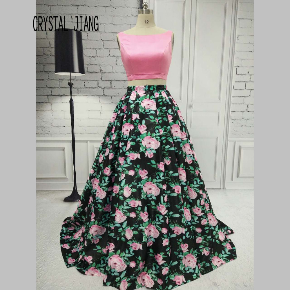 CRYSTAL JIANG Pink Floral Print Ball Gown Skirt Custom made Pink Satin Two Pieces Fashion Cheap Evening Gowns