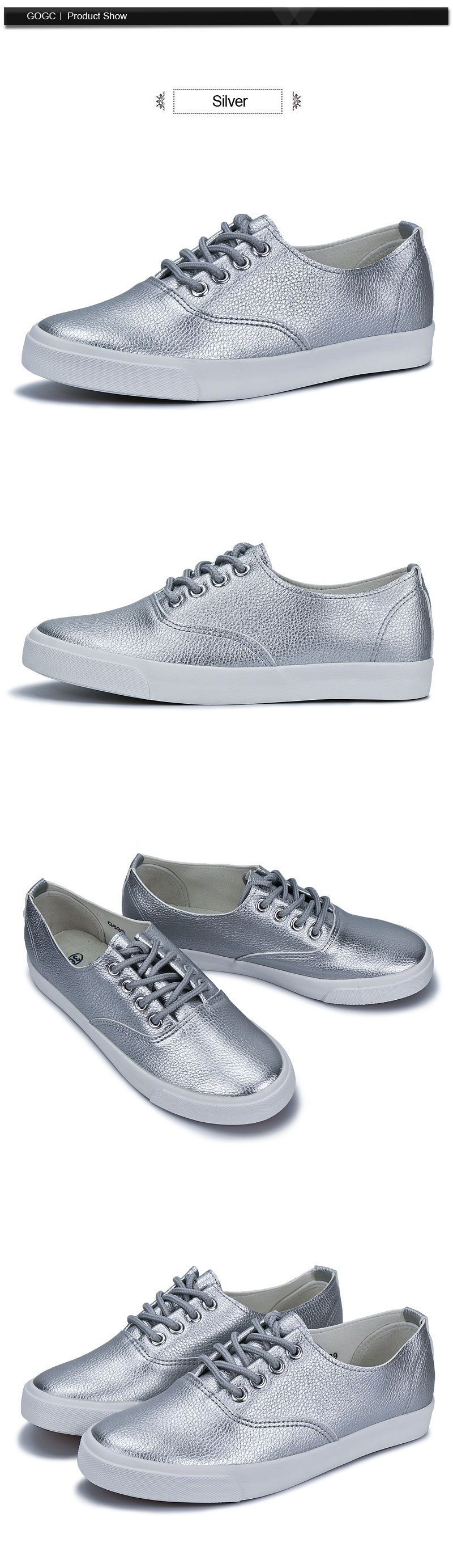 ed0b4eb3a6bd7 GOGC 2017 New Slipony Women Black White Leather Casual Shoes Women Flats  Shoes Breathable Sneakers Walking Shoes Women Sneakers