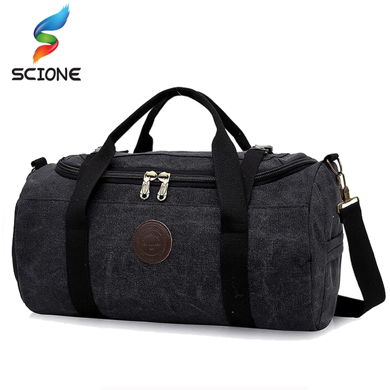 Hot 28L Kapasiti Besar Canvas Gym Bag Lelaki Wanita Portable Fitness Sukan Beg Lembut dilipat bahu Beg Perjalanan Terylene Inner