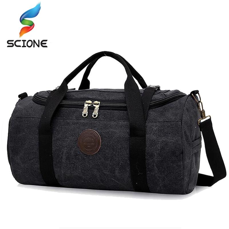 Hot 28L Large Capacity Canvas Gym Bag Men Women Portable Fitness Sports Bag Soft Foldable Shoulder Travel Bag Terylene Inner