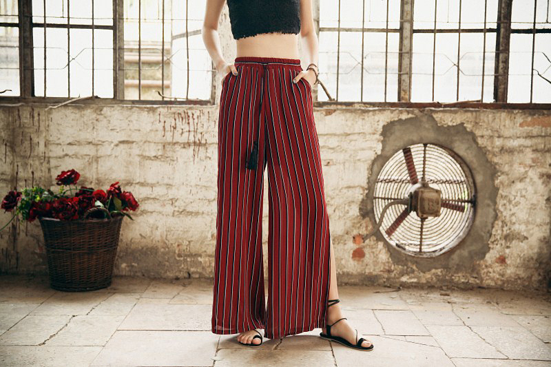 HTB1.3bgRXXXXXXlaFXXq6xXFXXXp - Woman Wide Leg Pants Holiday With Thin Open Fork Trousers For Sexy Red Plus Size PTC 231