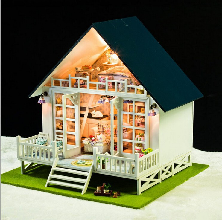 The Nordic Vacation Home 3D Model Household Doll Wooden Dollhouse Miniatures LED Furniture Kit Light Music Gift FPP