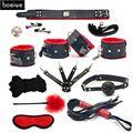 Productos del sexo 10 Unids/set Conjunto de Cuero Fetiche BDSM Bondage Juegos Para Adultos Juguetes sexuales para Parejas Juegos Esclavo SM Producto Cuello Máscara para Los Ojos