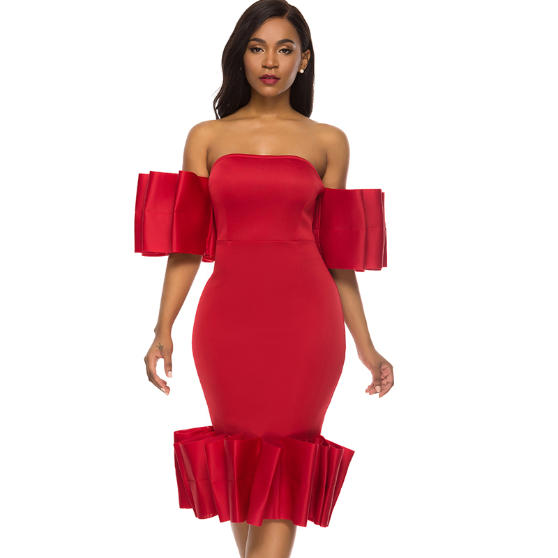 Off Shoulder Sheath Christmas <font><b>Red</b></font> Women's Bodycon Midi <font><b>Dress</b></font> Tube Top Pleated Ladies <font><b>Sexy</b></font> Stylish Events Occassion Party <font><b>Dresses</b></font> image