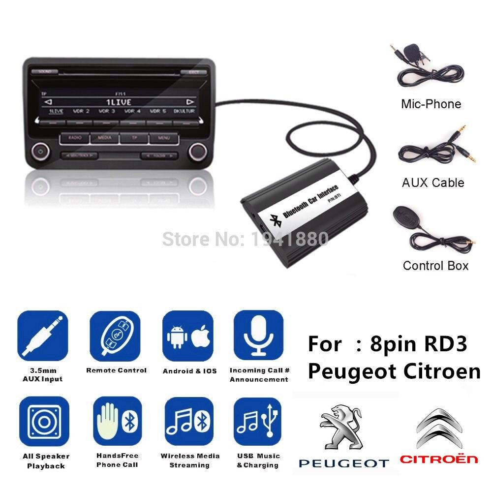 DOXINGYE Voiture AUXILIAIRE USB Bluetooth Radio Numérique Changeur CD Adaptateur Musique Bluetooth Kit Mains Libres Pour RD3 Peugeot CITROEN 8PIN