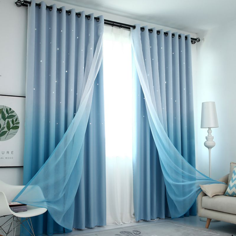 44 Blue Curtain Designs Living Room Sheer Curtain Ideas: Tulle Curtain For Living Room Gradient Color Double Gauze