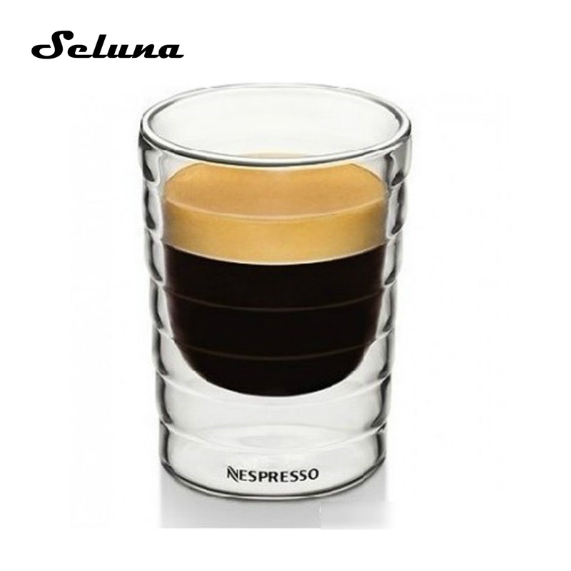 Nespresso Coffee Cup Double Wall Glass Coffee Mug Clear Insulated Espresso Cups 85/150ml Heat-resistant Tea Cup Lead-free Glass Кубок