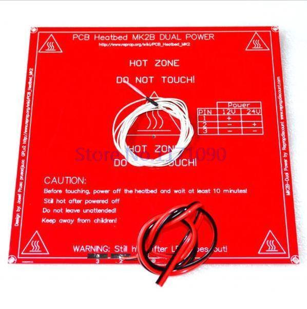 Запчасти для 3D принтера MK2B Heatbed + LED + резистор + кабель + 100K ohm термисторы PCB с подогревом|resistor parts|pcb probepcb white solder mask | АлиЭкспресс