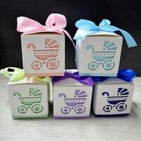 50 unids Cuadrado Bebé Partido de la Ducha Del Regalo Del Favor Cajas Del Caramelo de Chocolate En Laser Cut Carro de Bebé de Diseño de Colores Para Bebé Y Niño