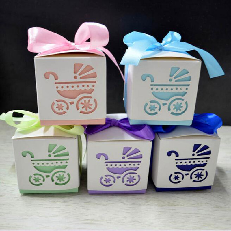 50pcs  Square Baby Shower Party Favour Gift Chocolate Candy Boxes In Laser Cut Baby Carriage Design Colors For Baby Girl And Boy